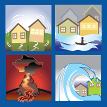 earthquack tsunami volcano icon